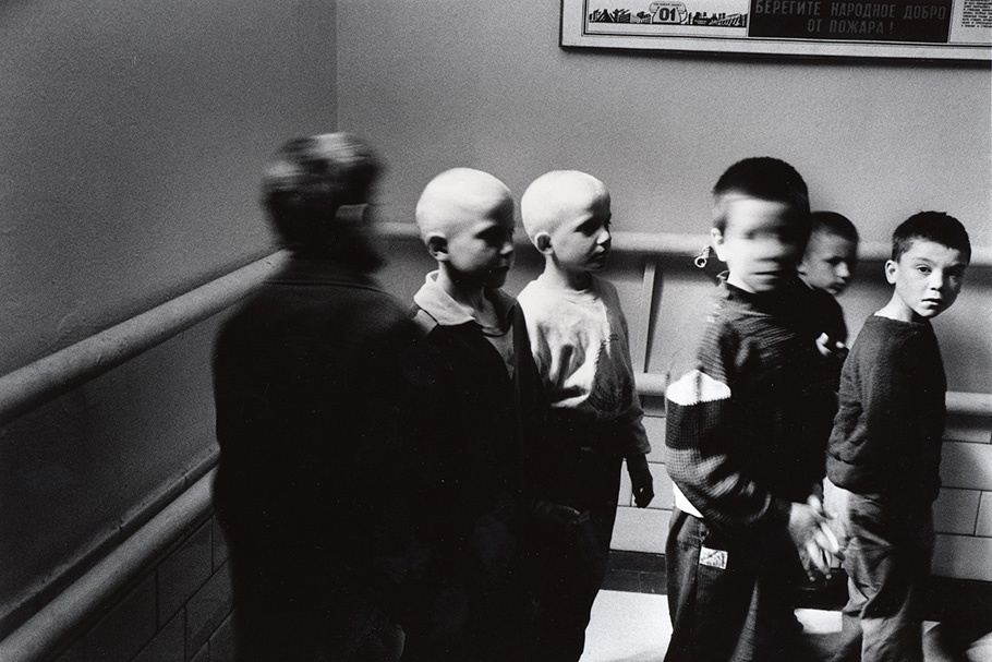 A group of boys in a detention center.
