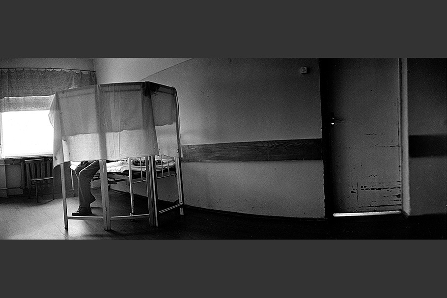 Panorama of a quarantined bed.