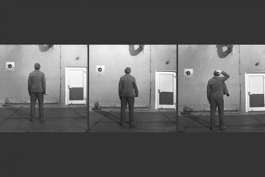 Triptych of man photographed from the back transmitting hand signals