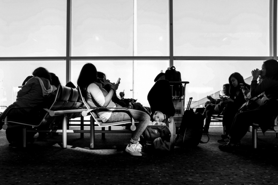 People sitting in an airport.