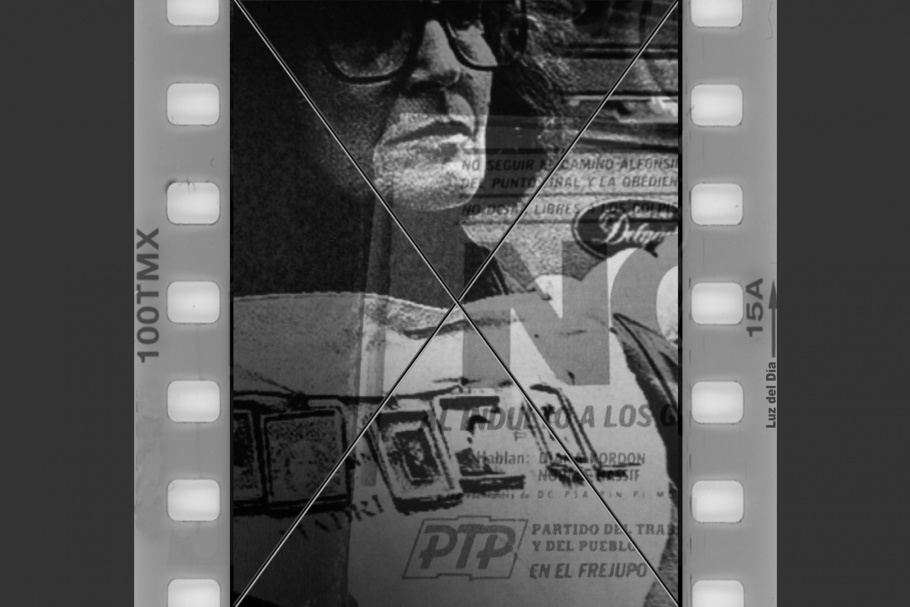 A film frame with a man wearing glasses.