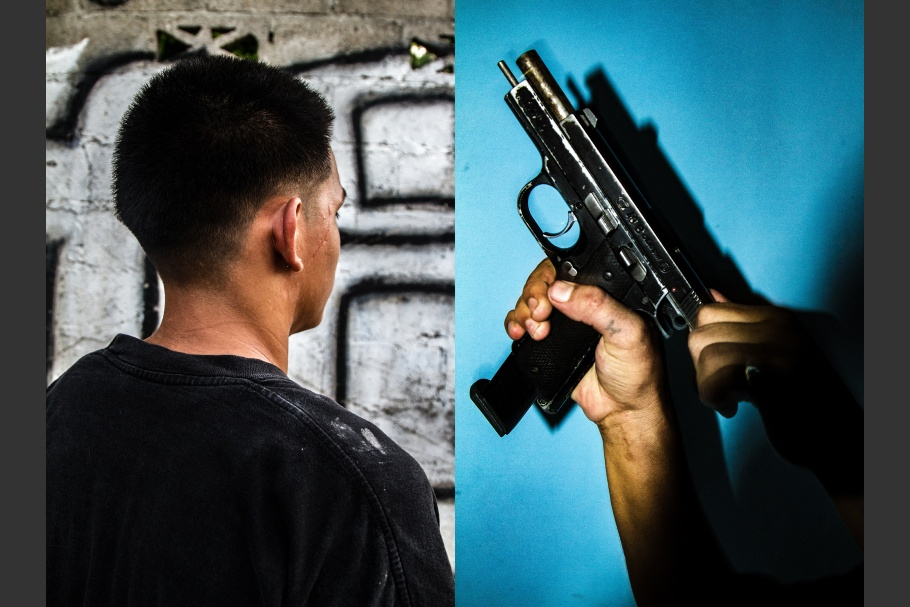 A diptych of a hand holding a gun and the back of a person's head
