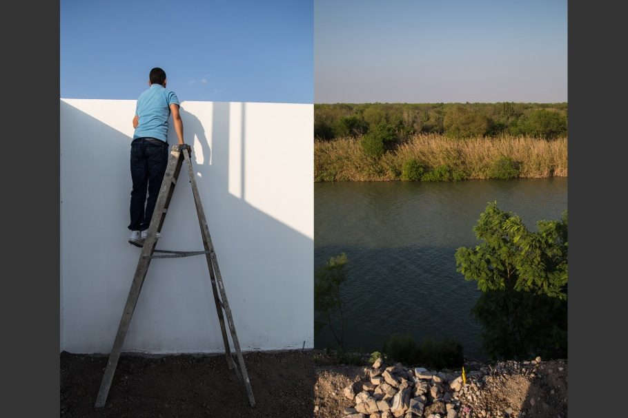 A diptych of a man standing on a ladder looking over a wall, and a river