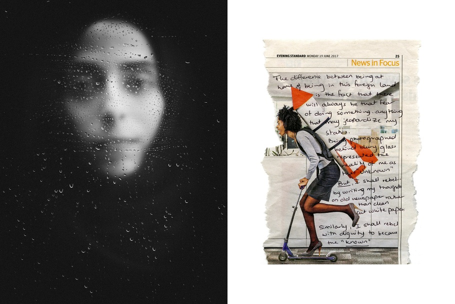A diptych of a woman and a handwritten note on a newspaper article illustration