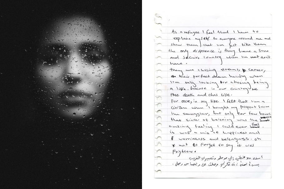 A diptych of a woman's face behind wet glass and a handwritten note