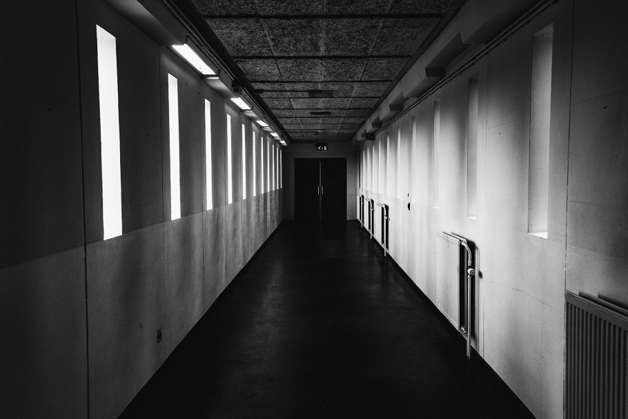 A hallway of a prison