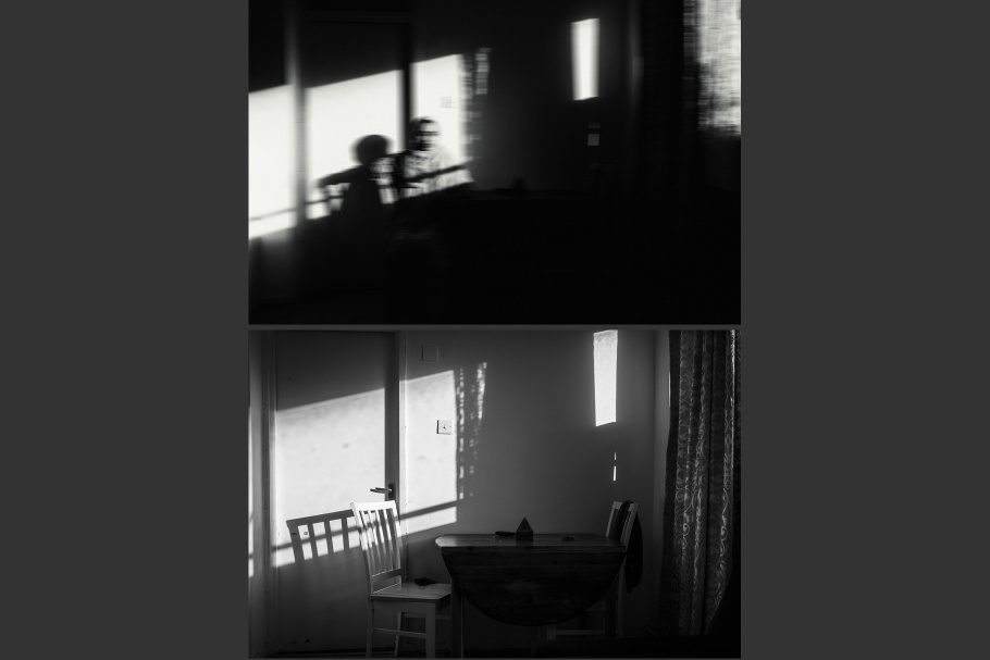 A diptych of a woman at a table and an empty table